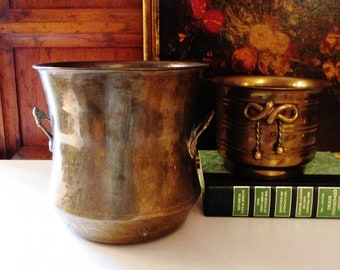 Two Vintage Brass Vessels, Cachepot with Bow Motif, Brass Wine Cooler, Indoor Planters