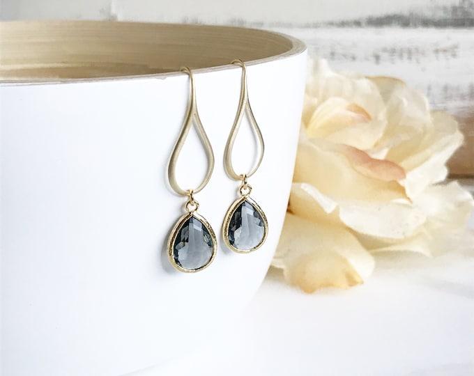 Gold Charcoal Drop Earrings.  Charcoal Grey Teardrop Drop Earrings.  Gift for Her.  Dangle Earrings. Modern Drop Earrings. Christmas Gift.