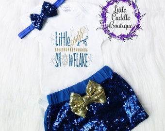 Christmas Baby Girl Outfit, Holiday Outfit, Little Miss Snowflake, First Christmas Outfit, Christmas Outfit, Holiday Party, Holiday Photos