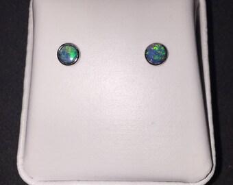 Sterling Silver Opal Doublet Stud Earrings, Opal Studs, Opal Earrings