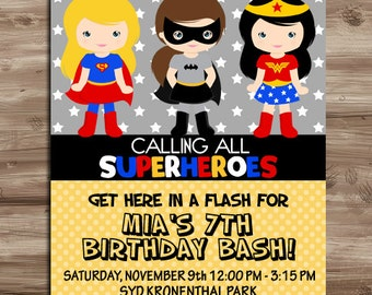 SUPERHERO Girls Invite, Superhero Invite, Girls Superhero Birthday Invitation, Supergirl, Batgirl Invite,  Digital Printable, JPG File
