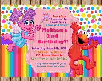 Elmo and Abby Birthday Invitations Custom Sesame Street
