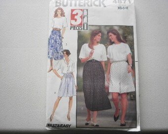 Pattern Vintage Ladies Shorts or Culottes Sizes 6 to 14 Butterick V 4871