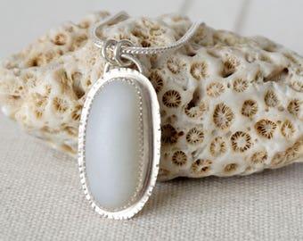 White Milk Glass Sea Glass Pendant - Natural Sea Glass, Genuine Sea Glass, Beach Glass Jewelry, Sea Glass Necklace Sea Glass Jewelry