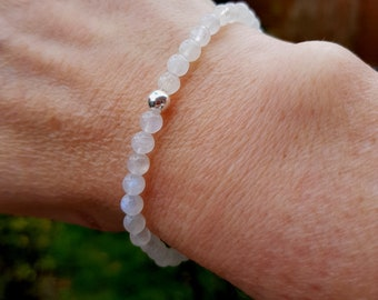 Moonstone STRETCH Bracelet Sterling Silver 5mm white gemstone bead Bracelet small Beaded Bracelet Chakra healing jewellery jewelry gift