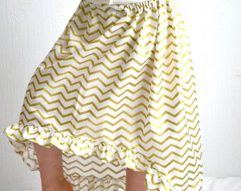 Little Girl's High Low Maxi Skirt, White with Gold Chevron Print, Size 5T Spring Toddler Boutique Long Skirt