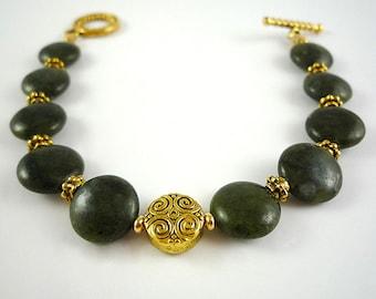 Jade Bracelet Dark Green Nephrite Jade Bracelet Green Jade Gemstone Bracelet Nephrite Jade Gold Bracelet Genuine Jade Bead Bracelet