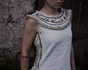 Native American style Embroidery Cream Tribal women Earthy Top made of Hand woven traditional cotto