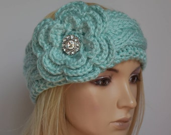Flower Knit Headband Head Wrap Ear Warmer Cable Knit Aqua with Sparkle Button