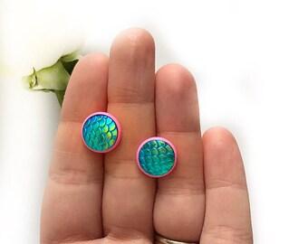 SALE 12MM Mermaid Earrings  - Mermaid Scale Earrings - Green Mermaid Earrings - Mermaid Stud Earrings - Gift For Her - GIft For Women
