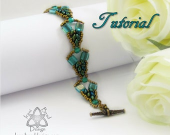 Pdf Tutorial Mercia Bracelet with Super Duo Beads and Czechmates Tile Beads, Beading Pattern English Only,