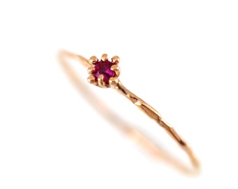 Ruby Engagement Ring, Ruby Ring Rose Gold, Flower Ring Gold, Simple Gold Ring Ruby,14k Solid Gold with Genuine Natural Ruby Ring, Birthstone