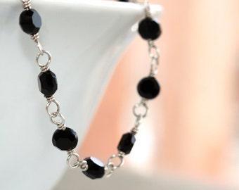 Crystal Necklace * Crystal Jewelry * Elegant Necklace * Long Black Necklace * Fancy Jewelry * Long Necklace * Black Necklace..*Unworn Wings*