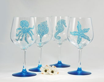 Octopus, conch shell, seahorse or sea star wine glass - Hand painted - Sea Glass Collection