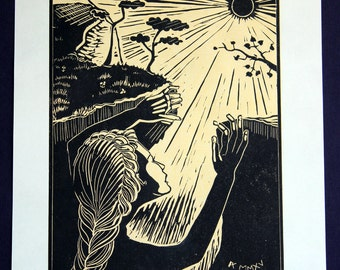 Handprinted linoleum block print: Return of Persephone, black with soft yellow background, morning