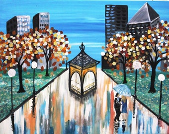 Original modern art print on canvas couple love romance gift idea tree path city walk kiss hug wedding