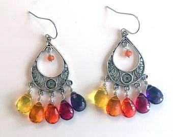 Rainbow earrings, Sterling silver, Cheeky Monkey Chandelier Earrings, Quartz, Gemstone colors