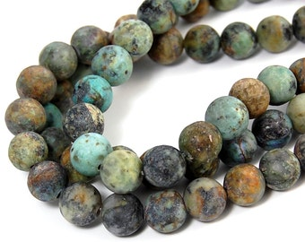"""Two 15.5"""" strands, African Turquoise Beads Matte 8mm"""