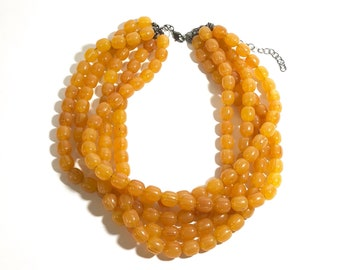 Amber Beaded Statement Necklace   Vintage Lucite Sylvie Multi Strand Statement Necklace