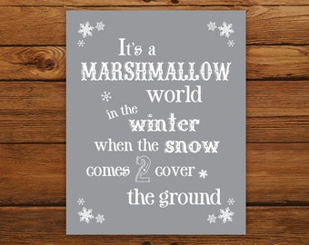 "Marshmallow World 8x10"" Christmas Print - Christmas Song in Smoky"