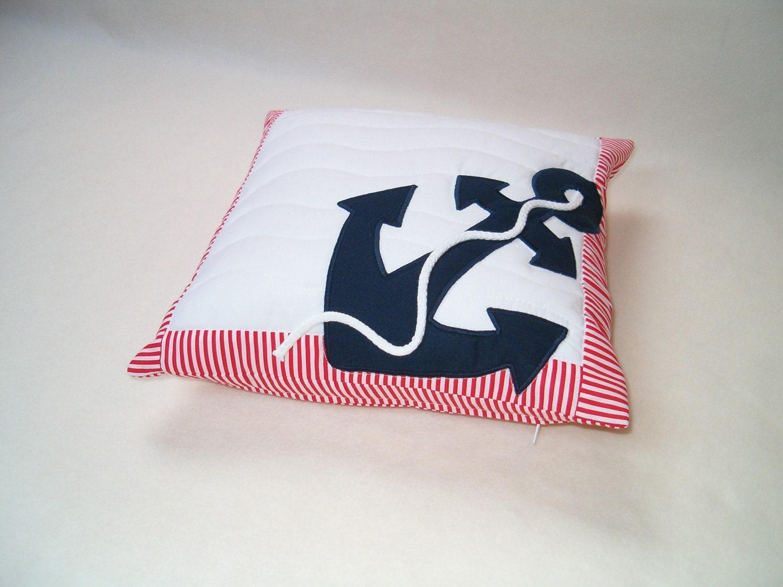 Nautical pillow decorative throw pillow anchor pillow case