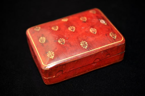 Red Leather jewelry box Fleur de lis dresser box Vintage