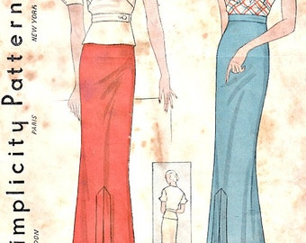 Vintage 1930's Two Piece Dress Asymmetrical Blouse Skirt NRA Seal Size 14 Bust 32 Simplicity 1444 Sewing Pattern Non Printed Complete