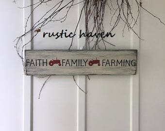 "Farmhouse Fixer Upper Style Sign | Faith Family Farming | Primitive Sign | IH Red | Farm | Religious | Family Sign |   5.5"" x 24"""