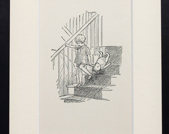 Mounted Winnie The Pooh, Christopher Robin Carries Pooh Downstairs. Matted Vintage 1930s Black and White Print
