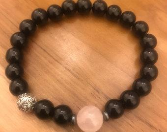 Black agate/rose quartz sterling silver bali bracelet