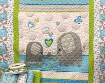Hello Baby Elephant Flannel Quilt Kit Blue