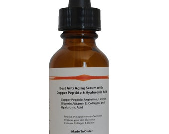 Copper Peptide (GHK-Cu) Best Anti Aging Serum with Hyaluronic Acid JJ Labs, 1.2 oz