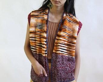 pathways -- vintage handmade knit folk art vest S/M/L