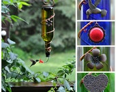 "Blue or Green Wine Bottle Hummingbird Feeder ~ ""The Tavern"" - with 2 tube adapers. - one with red flower, one with red tip / ball bearing"