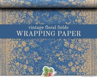 Vintage Floral Fields Wrapping Paper   Grungy  Blue Kraft Color Floral Fields Gift Wrap Paper Roll In 9 feet or 18 feet. Everyday Gift Wrap.