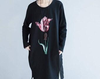 Knee-Length Sweater Dress Rose Print
