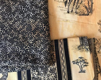 Animal Print Fabric, Safari Fabric, Giraffe Fabric, Upholstery Fabric, Yellow and Black Fabric, 4 yards Coordinating Upholstery Fabric,