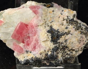 Pink And Rosy Rhombehedral Rhodochrosite Crystals With Fluorescent Pale Green Fluorite, Sphalerite, Pyrite, Galena And More