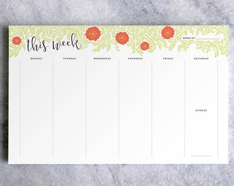 Weekly Planner Notepad | To Do List | Teacher Planner Pad | Vines & Flowers Desk Pad