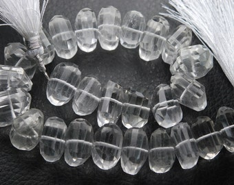 6 Inch Strand,New Rock Crystal Quartz Faceted Fancy Cut Nuggets Shape ,12-14mm Long,Great Price