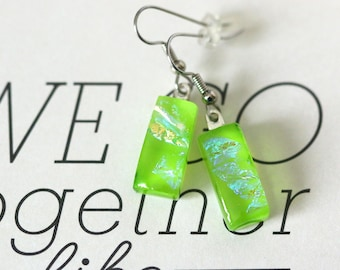 Green  Dichroic Fused Glass Earring, Drop Earrings, Dangle Earrings, E0169, GetGlassy