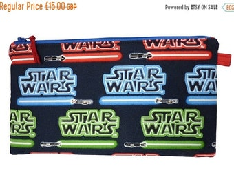SALE 20% OFF Star Wars Lightsaber Makeup Bag, Gadget Bag, Pencil Case, Small Project Bag, Multi Purpose Pouch Handmade in the UK