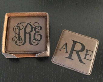Leather Monogram Coasters, Custom Lettering, Choice of Colors, Set of 6 with Box, Wedding, Engagement, Housewarming, Any Occasion Gift