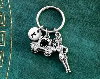 Cavewoman Keychain VERY SMALL Cave Woman Keychain Girlfriend Keychain Wife Keychain Mother's Day Keychain Mom Keychain Car Keychain Initial