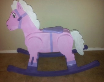 Handcrafted Wood Girl Rocking Horse local Arizona only        Price temporarily reduced
