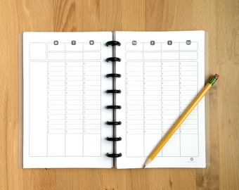 "Timed - Weekly Planner Pages - Organizer - Undated - Printed - Disc Bound Planner - Fits Circa, Arc, Junior-Half Page Size - 5.5""x8.5"