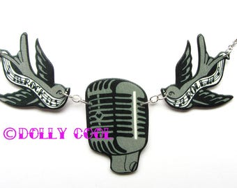 Microphone necklace with Swallows 50s and Rock n Roll Mic Sparrow Tattoo Style