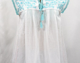 """Embroidered Mexican Blouse Sleeveless: """"La Marbrisa"""" White + Neon Blue ~ Size SMALL"""