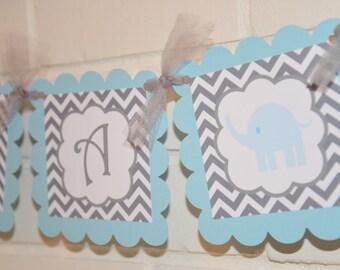 It's a Boy Elephant banner, Elephant baby shower, elephant banner,