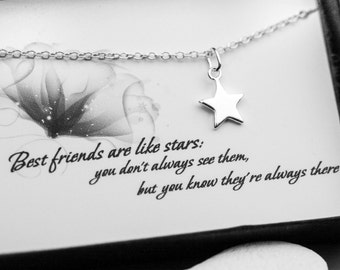 Friendship Necklace - Tiny Star Sterling Silver Necklace - Necklace with a Message Card